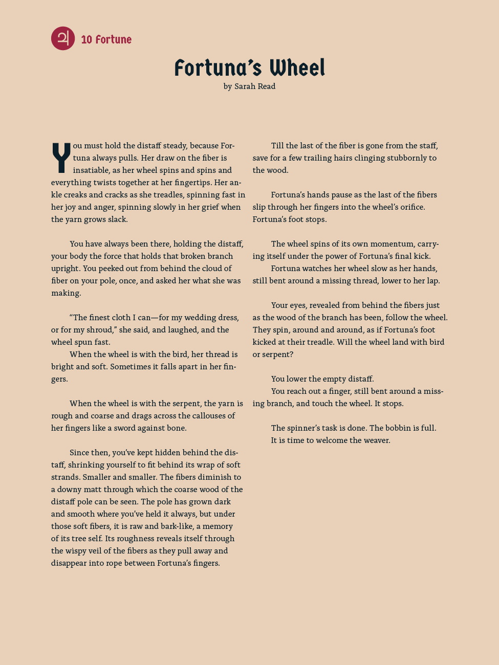 10 The Wheel - Fortuna's Wheel - Sarah Read