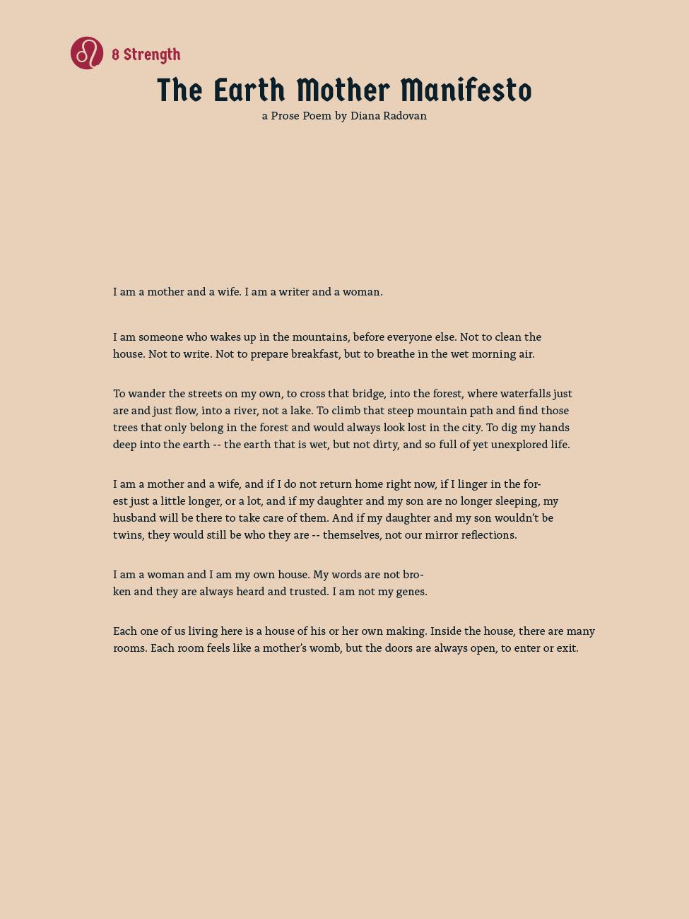 8 Strength - The Earth Mother Manifesto (a Prose Poem) - Diana Radovan